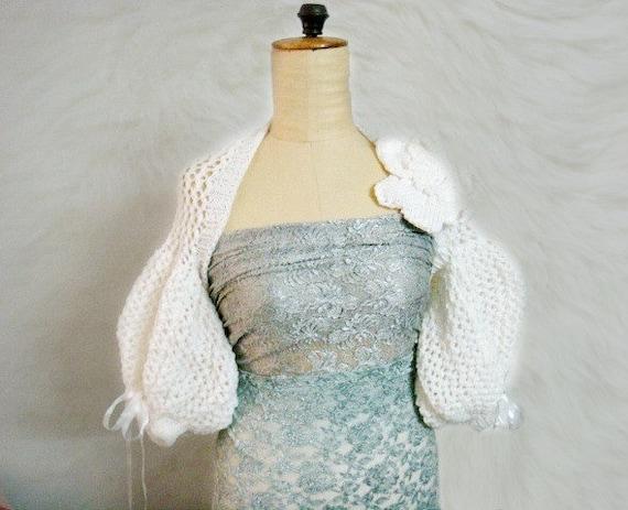 Knit Shrug Pattern, Puff Sleeve Bolero Shrug Knitting Pattern, Wedding Bridal Wrap Pattern, 30