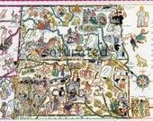 North Dakota South Dakota Map ORIGINAL 1932 Picture Map - Berta Elmer Hader - Antique Fargo Aberdeen Pierre Deadwood Bismarck Sioux Falls