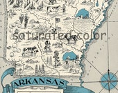 Arkansas Map - High Res DIGITAL IMAGE of a 1930s Vintage Picture Map - pillows, prints, cards, totes - Charming & Fun Map Art