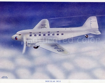 Vintage Airplane Print - Douglas DC 3 - Commercial Air Travel - American Airlines - Lithograph - Boys Room Nursery Den