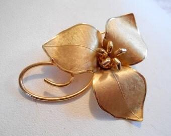 Vintage brooch, BondBoyd  brooch, gold filled brooch, floral brooch, figural brooch, signed brooch