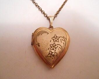 Vintage pendant, Gold-filled heart pendant, Art Nouveau floral etched pendant with chain, antique pendant, vintage jewelry