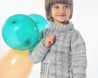 Boys Sweater Knitted Cable, melange Grey Wool, turtleneck, wool - warm for fall, winter -  toddler, baby 3 T, 4 T, 5 T MADE TO ORDER