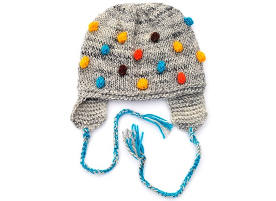 Knitted Toddlers Kids Childrens Boys Girls Baby Hat, Grey with Blue Turqouise Yellow Orange popcorn Bobbles with EarFlap, 12-18-24 M, 2T-5 T