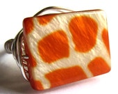 Giraffe Print Wire Wrapped Ring Orange Fashion Jewelry