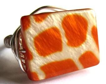 Giraffe Print Wire Wrapped Ring Orange Fashion Jewelry