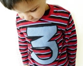 Boys Clothing Birthday Tshirt Number 3 Age Applique Upcycled By TrashN2Tees