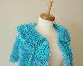 Turquoise Capelet, Neckwarmer, Unique Design by Crochetlab, Faux Fur, Furry,  Fall and Winter Collection, OOAK