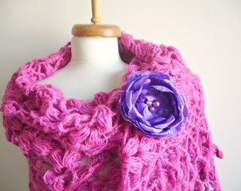 Pink  Shawl,  Large Triangle Shawl By Crochetlab Gift for Mom, Mohair, Ready To Ship, Gift for Her