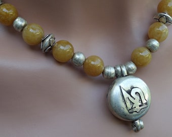 Tibetan Prayer Box (Gau) with Butterscotch Aventurine and Ethiopian Prayer Beads