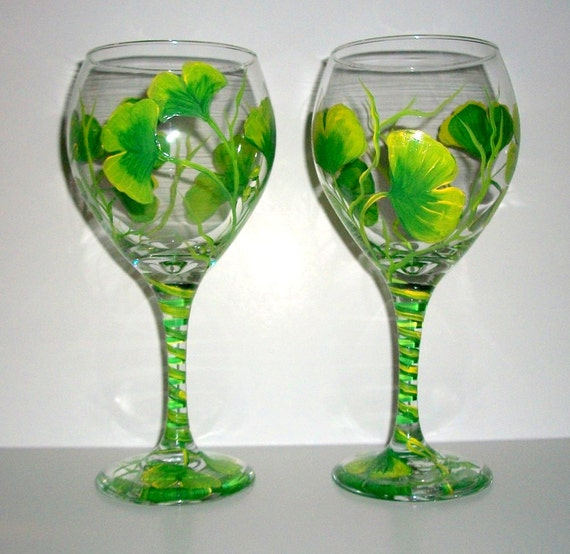 Ginko Leaf Hand Painted Wine Glasses Set of 2 - 20 oz. Red Wine Goblets Green Wedding Anniversary Glassware Wine Green Leaves Gift