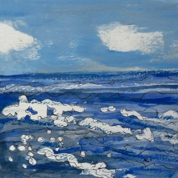 Ocean Waves Original Watercolor 6 x 6 block