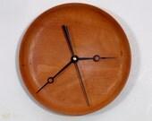 Wood Wall Clock, Turned Wood Clock,  African Mahogany Wood Clock, Unusual Hands