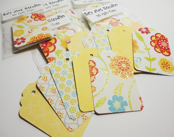 """30 Gift tags - Sunny Mix - Card Stock  2 1/4""""x1 1/2"""""""