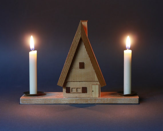 Vintage German Christmas Chalet Candle Holder By