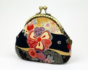Coin Purse - Sakura Chrysanthemum - Cotton Fabric with Metal Frame