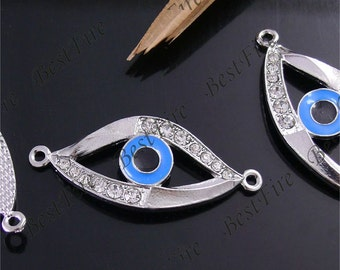 2pcs of 18x42mm Silver Plated Rhinestone evil eye Connector,Bracelet Connector,bangle findings