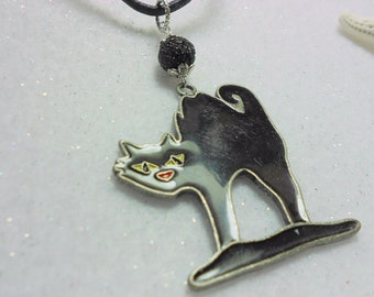 Halloween Pendant Large Black Cat Pendant Retro Cat with Arched Back