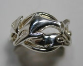 Ladies Gold or  Sterling Silver 4 Band Dolphin Puzzle Ring