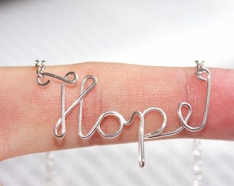 Handmade sterling silver Hope necklace