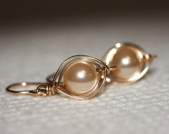 Swarovski pearl earrings wrapped in 14K gold filled wire