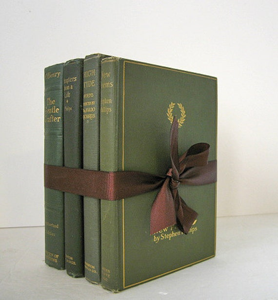 Vintage and Antique Books Bundle Green Olive Slate Pine Classics for Display Home Decor