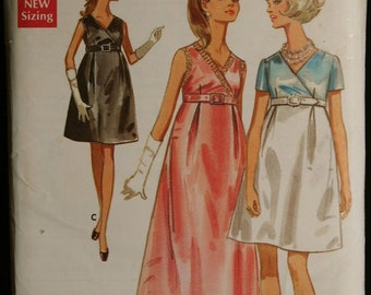 Butterick 5196 Jr Misses Empire Waist Evening Gown or Special Occasion Dress Vintage 60s Sewing Pattern Sz 9