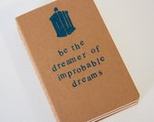 dreamer of improbable dreams DW - hand stamped moleskine notebook pocket size