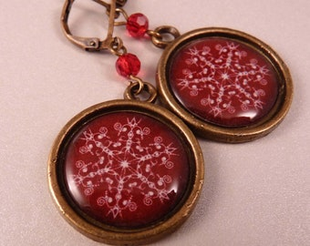 Christmas Earrings Snowflake Earrings Christmas Jewelry Tile Earrings Holiday Jewelry Holiday Earrings Santa Jewelry Beaded Jewelry