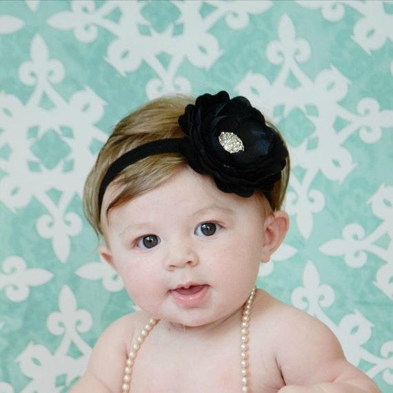 Black Flower Headband - Baby Headband - Toddler Headband