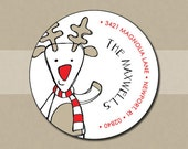 Christmas Return Address Labels - Round Address Stickers - whimsical reindeer - set of 70