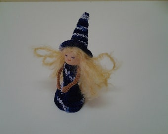 Blue Witch Finger Puppet, Holloween Witch Series