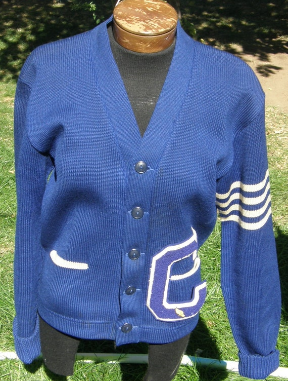 old vintage 40s 50s varsity sweater letterman w letter c school university