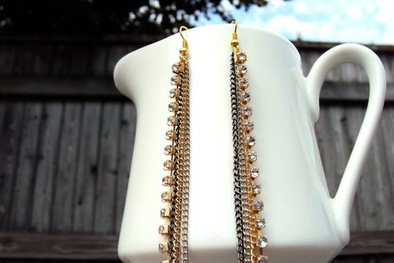rhinestone chain long tassel statement earrings