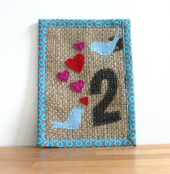 SALE - Upcycled Burlap Art -- Lovey-Dovey -- 2 Birds