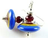 Colorful Lampwork Earrings, Blue Dangle Earrings, Beadwork Earrings, Glass Bead Earrings, Drop Earrings, Yellow Beaded Earrings