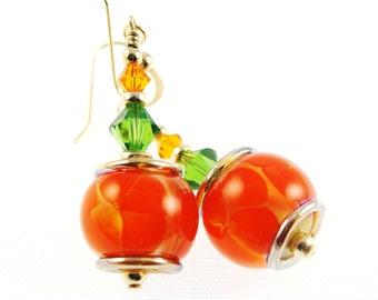 Flower Lampwork Earrings, Orange Dangle Earrings, Glass Bead Earrings, 14K Gold Filled Earrings, Glass Bead Jewelry, Beadwork Earrings