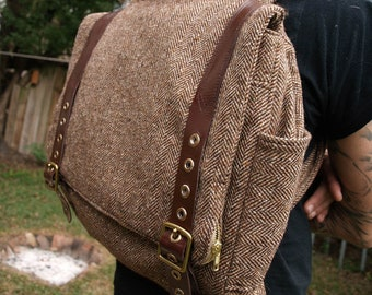 Custom Handmade backpack with adjustable leather straps- mens womens book bag- laptop carry on travel bag