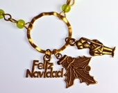 Feliz Navidad Charm Necklace in Green
