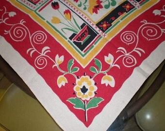 Vintage Mid Century Cotton Table Cloth - Flowers, Flowers, Flowers