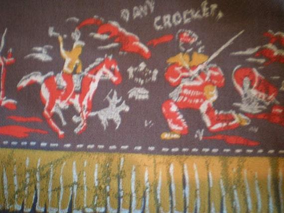 Vintage Mid Century Fabric - Davy Crockett - Western - Cowboy And Indian