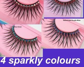 Bella - Ultra Sparkly Exclusive Festival False Eyelashes with Metallic Gold Preciosa Crystal  Diamante for all PinUp Divas