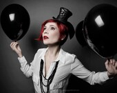 Cunene Goth Black Ribbon Corset Mini Top Hat