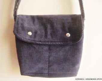 Mini Messenger Bag /Charcoal Gray   Corduroy/ Small  / Adjustable Strap