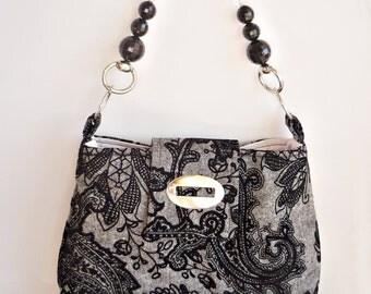 Flocked Black Velvet  on Wool/ Shoulder Bag with Crystal Strap