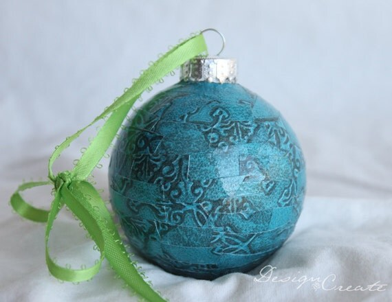 Handcrafted Christmas Ball - Teal and Black Damask - Decoupage Ornaments