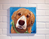 Custom dog painting Art Original Acrylic Painting on 12x12 Canvas commissioned painting