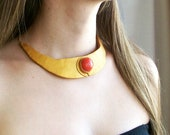 Gold choker necklace Egyptian style bright red stone bib necklace fashion necklace dressy polymer clay necklace one-of-a-kind