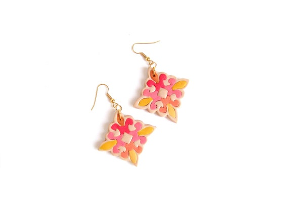 Neon dangle earrings geometric pattern polymer clay earrings hot pink red banana yellow nude diamond shaped earrings