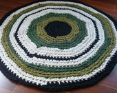 Green with Envy - Upcycled T Shirt Round Area Rug- OOAK 36 inches Green/Cream/Black - Ready to SHIP